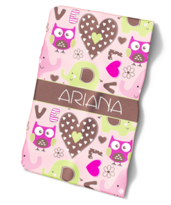 Hearts and Owls Personalized Baby Bib Blanket Set by Personalize it FREE