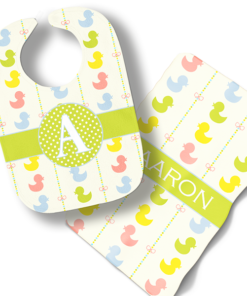 Little Ducks in a Row Boys or Girls Blue Personalized Baby Bib Blanket Set by Personalize it FREE