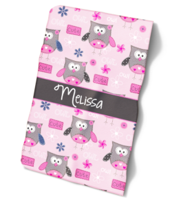 Cute Pink Owls Girls Personalized Baby Bib Blanket Set by Personalize it FREE