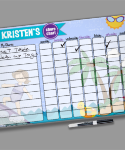 Surfer Girl Theme Kids Personalized Chore Chart by Personalize it FREE