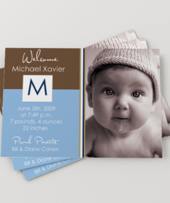 PIF-BBA00001-5X7-PHOTO1 Brown Blue Boys Baby Photo Birth Announcement by Personalize It FREE