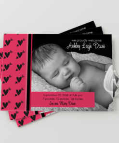 PIF-BBA00002-5X7 Girls Hot Pink Hearts Baby Photo Birth Announcement by Personalize It FREE