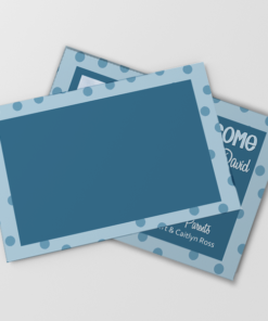 PIF-BBA00003-5X7 Blue Polka Dots Boys Baby Photo Birth Announcement by Personalize It FREE