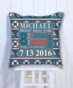 PIF-BTP00002 Boys Nautical Boats Personalized Baby Birth Date Info Nursery Throw Pillow by Personalize it FREE
