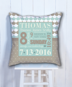 PIF-BTP00003-Chocolate Blue Personalized Baby Birth Date Info Nursery Throw Pillow by Personalize it FREE