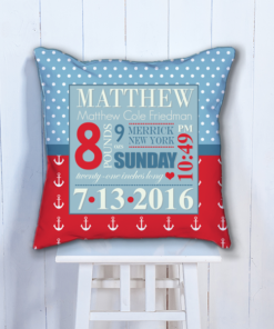 PIF-BTP00004-Nautical Anchors Personalized Baby Birth Date Info Nursery Throw Pillow by Personalize it FREE