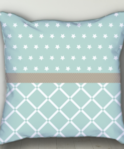 PIF-BTP00005-Pale Green Stars Personalized Baby Birth Date Info Nursery Throw Pillow by Personalize it FREE