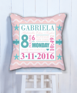 PIF-BTP00007-Pink Nautical Personalized Baby Birth Date Info Nursery Throw Pillow by Personalize it FREE