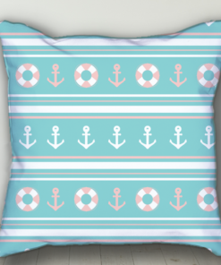PIF-BTP00008-Pale Blue Nautical Personalized Baby Birth Date Info Nursery Throw Pillow by Personalize it FREE