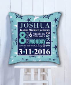 PIF-BTP00009-Blue Nautical Sea Life Personalized Baby Birth Date Info Nursery Throw Pillow by Personalize it FREE