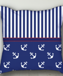 PIF-BTP00010-Bold Blue Red Nautical Personalized Baby Birth Date Info Nursery Throw Pillow by Personalize it FREE