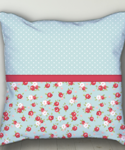 PIF-BTP00011-Blue Red Shabby Chic Roses Personalized Baby Birth Date Info Nursery Throw Pillow by Personalize it FREE
