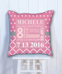 PIF-BTP00012-Pink Stars Girls Personalized Baby Birth Date Info Nursery Throw Pillow by Personalize it FREE