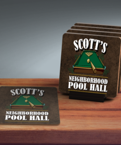 PIF-COAS00001-Billiard Pool Hall Personalized Coaster Set by Personalize it FREE