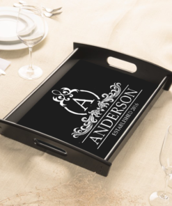 PIF-SERV00001 Personalized Serving Tray Espresso Wood Elegant Monogram by Personalize it FREE