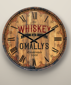 PIF-WALCL00002 Personalized Bar Clock Whiskey Bar Wall Clock by Personalize it FREE