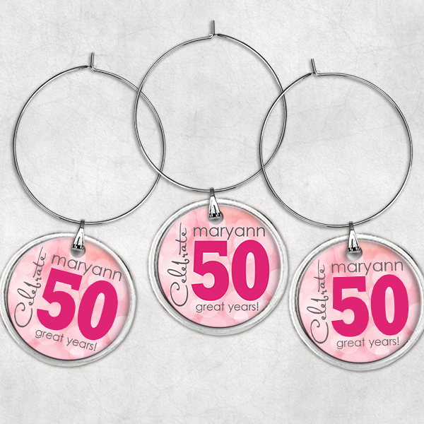 PIF-WINCH00001 Personalized Wine Charms Set 50th Birthday Celebration Tags by Personalize it FREE