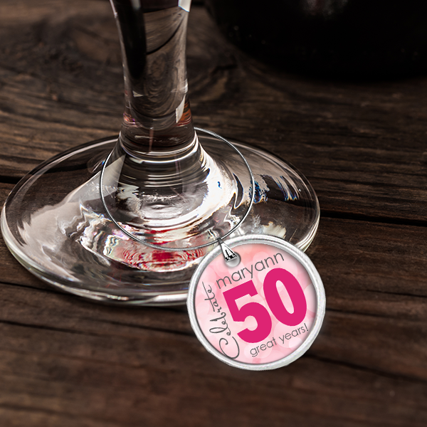 PIF-WINCH00001 Personalized Wine Charm Set 50th Birthday Celebration Tags by Personalize it FREE