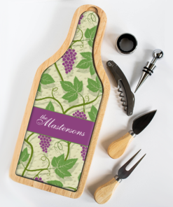 PIFWIN6PC00001 Personalized Wine & Cheese Set Cutting Board Cheese Server by Personalize it FREE