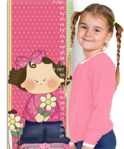 PK-GC00008 Personalized Growth Chart Pink Flower Garden Girl Wall Decor by Personzalize it FREE