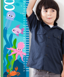 PK-GC00025 Kids Personalized Growth Chart Under the Sea Life Wall Decor by Personzalize it FREE