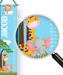 PK-GC00026 Personalized Growth Chart Baby Jungle Animals Wall Decor by Personzalize it FREE