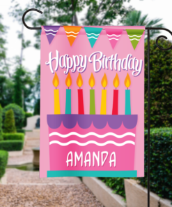SGF-00046 Personalized Garden Flag Kids Girls Pink Birthday Party Cake Celebration Banner by Personalize it FREE