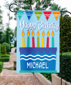 SGF-00047 Personalized Garden Flag Kids Boys Blue Birthday Party Cake Celebration Banner by Personalize it FREE