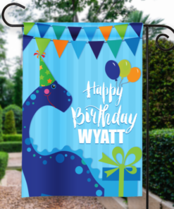 SGF-00048 Personalized Garden Flag Kids Boys Blue Birthday Party Dinosaur Celebration Banner by Personalize it FREE