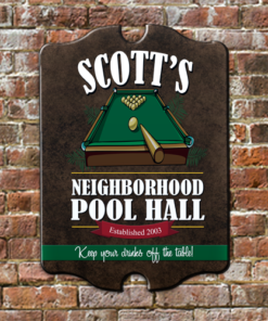 W2W-B00001 Personalized Wood Neighborhood Pool Hall Game Room Home Bar Tavern Pub Sign by Personalize it FREE