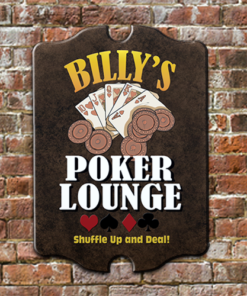 W2W-B00004 Wood Poker Lounge Game Room Home Bar Tavern Personalized Pub Sign by Personalize it FREE