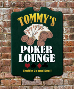 W2W-B00005 Wood Poker Lounge Game Room Home Bar Tavern Personalized Pub Sign by Personalize it FREE