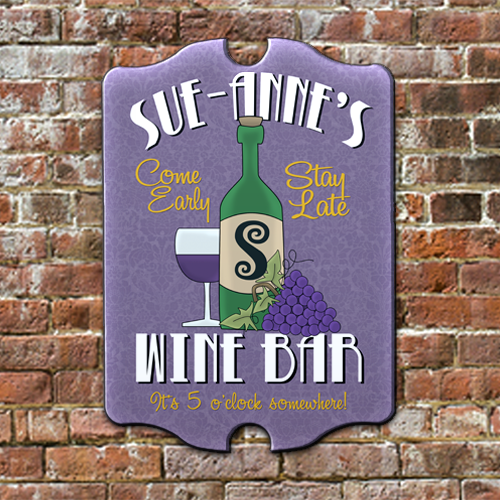 W2W-B00007 Wood Wine Bar Game Room Home Bar Tavern Personalized Pub Sign by Personalize it FREE