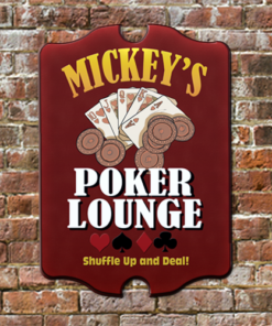 W2W-B00014 Wood Poker Lounge Game Room Home Bar Tavern Personalized Pub Sign by Personalize it FREE