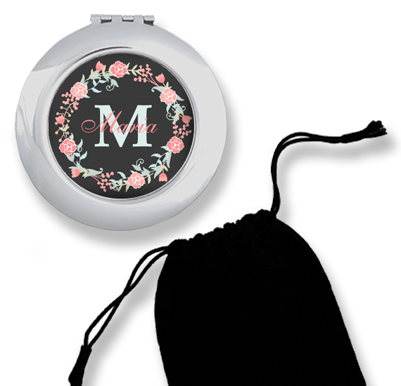 CM-00003 Black Floral Print Silver Personalized Compact Mirror Bridesmaid Gift Idea by Personalize it FREE