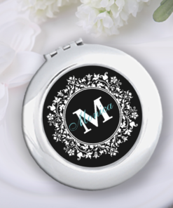 CM-00004 Black White Floral Print Silver Personalized Compact Mirror Bridesmaid Gift Idea by Personalize it FREE