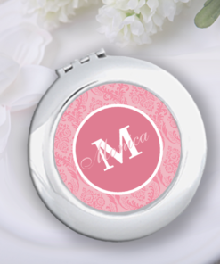 CM-00005 Pink Damask Print Silver Personalized Compact Mirror Bridesmaid Gift Idea by Personalize it FREE