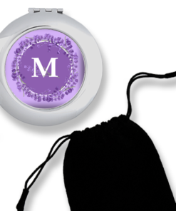 CM-00006 Lavender Print Silver Personalized Compact Mirror Bridesmaid Gift Idea by Personalize it FREE