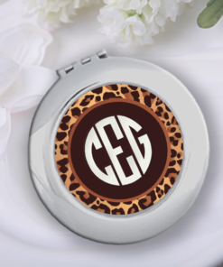 CP-00001 Leopard Monogram Silver Personalized Compact Mirror Bridesmaid Gift Idea by Personalize it FREE