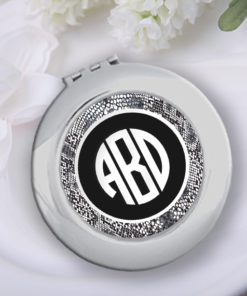 CP-00002 Monogram Silver Personalized Compact Mirror Bridesmaid Gift Idea by Personalize it FREE