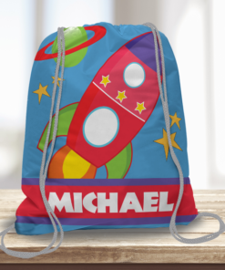 WW-KDT00002 Outer Space Personalized Drawstring Bag Kids Sports Travel Tote Bag by Personalize it Free