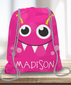 WW-KDT00003 Little Pink Monster Personalized Drawstring Bag Kids Sports Travel Tote Bag by Personalize it Free