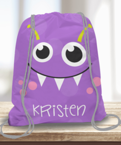 WW-KDT00004 Little Purple Monster Personalized Drawstring Bag Kids Sports Travel Tote Bag by Personalize it Free