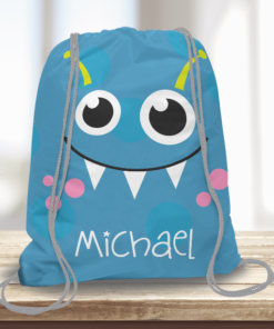 WW-KDT00005 Little Blue Monster Personalized Drawstring Bag Kids Sports Travel Tote Bag by Personalize it Free