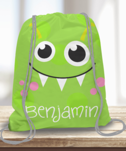 WW-KDT00006 Little Green Monster Personalized Drawstring Bag Kids Sports Travel Tote Bag by Personalize it Free