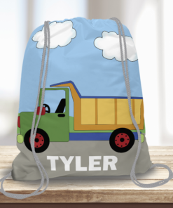 WW-KDT00007 Construction Dump Truck Personalized Drawstring Bag Kids Sports Travel Tote Bag by Personalize it Free