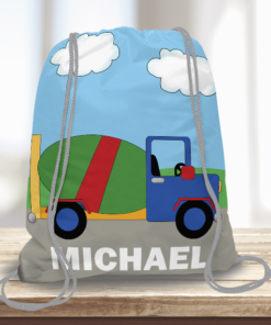 WW-KDT00008 Construction Cement Truck Personalized Drawstring Bag Kids Sports Travel Tote Bag by Personalize it Free