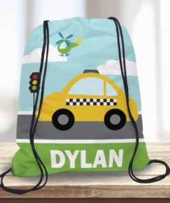 WW-KDT00011 Taxi Cab Personalized Drawstring Bag Kids Sports Travel Tote Bag by Personalize it Free