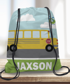 WW-KDT00012 School Bus Personalized Drawstring Bag Kids Sports Travel Tote Bag by Personalize it Free