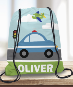 WW-KDT00013 Police Car Personalized Drawstring Bag Kids Sports Travel Tote Bag by Personalize it Free
